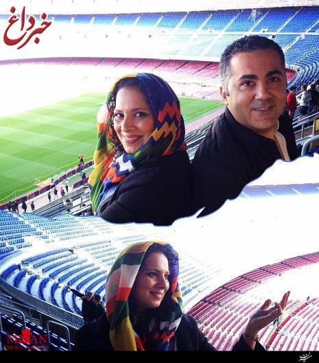 بازیگر زن ایرانی در ورزشگاه بارسلونا +عکس