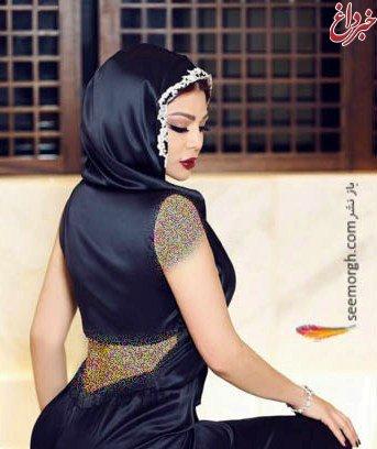 جنجال عکس خواننده زن عرب با روسری و بدنی برهنه!! + عکس